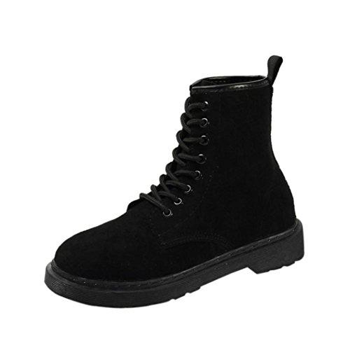 9c62c10b334 Gillberry Femmes Bottes Automne Hiver Bottes À Talons Plats Bottes À Lacets  Femmes Chaussures Noir