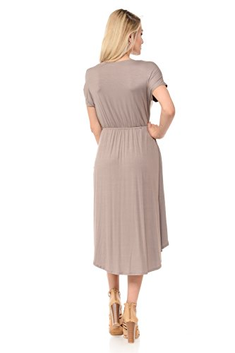 Flare Floral in Taupe in Dress with Short iconic Solid Women's luxe Midi Made USA and Pockets Sleeve Sg74fwq
