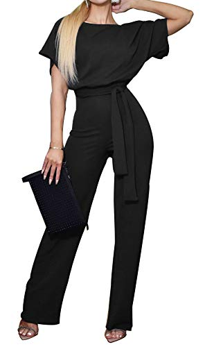 (BTFBM Women Short Sleeve Casual Loose Fit Long Pant Jumpsuits Romper with Belt (Black, Large))