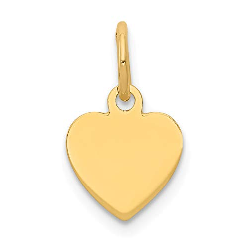 14k Yellow Gold .009 Gauge Engravable Heart Disc Pendant Charm Necklace Simple Shaped Plain Fine Jewelry For Women Gift Set (Cat Yellow Gold Charm)