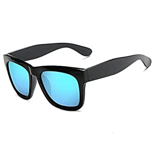 Retro Personality Square Frame Fashion Men Women Sunglasses Polarized Sunglasses (Color : E Blue, Size : Free)