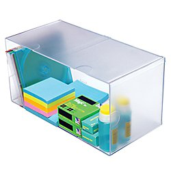 Deflecto Stackable Open Cube Organizer, Desk and Craft Organizer, Clear, Large, 6