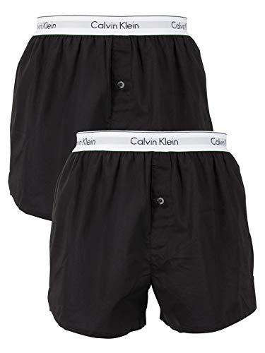 Calvin Klein Men's 2 Pack Logo Slim Fit Boxers, Black, Medium (Calvin Klein Eternity Summer For Him 2017)
