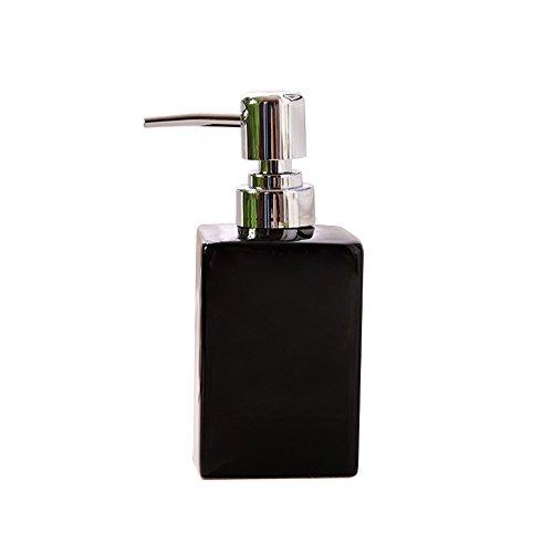 Liquid Soap Dispenser Pump,Langxian Square Refillable Ceramics Soap Dispenser for Kitchen,Bathroom (Black) (Soap Pump Dispenser Black)