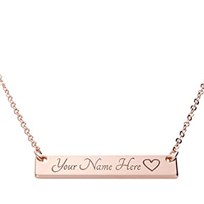 i1it SAME DAY SHIPPING GIFT TIL 2PM CDT Customizable Your Name Bar Necklace Same Day Shipping Gift 16k Rose Gold -Plated Name Bar Necklace Machine Engraving Mothers day bridesmaid wedding from i1it