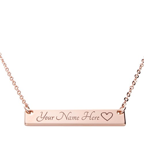 i1it Customizable Your Name Bar Necklace Same Day Shipping Gift 16k Rose Gold -Plated Name Bar Necklace Machine Engraving Best Bridesmaid Wedding ()