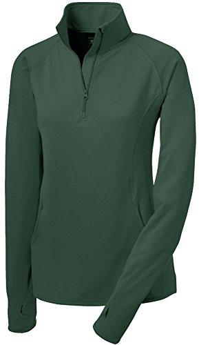 Joe's USA Ladies Moisture Wicking Stretch 1/2-Zip Pullover Sweatshirt Forest-2XL