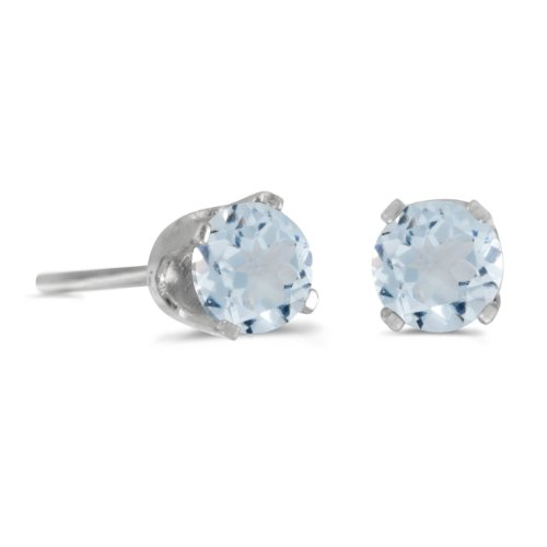 (0.38 Carat (ctw) 14k White Gold Round Aquamarine Solitaire Stud Earrings with Screw Back (4 MM))