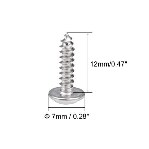 3x12 mm self-Tapping Screws Phillips Head with Washer Screw 304 Stainless Steel Fastening Screws Bolts 50 Pieces