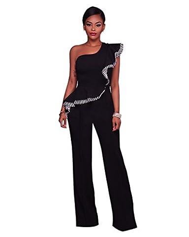 Women Sexy One Shoulder Ruffle Sleeve Wide Leg Long Pants Jumpsuits Rompers Black, Medium