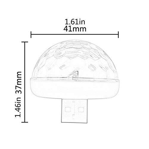 Silverdewi LED USB Mini Voice Activated Crystal Magic Ball LED Stage Palla da Discoteca Proiettore Luci da Party Flash DJ Lights-White