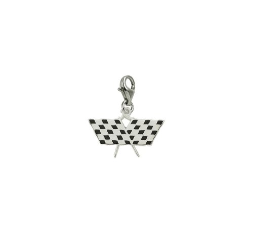 14k White Gold Racing Flag Charm With Lobster Claw Clasp, Charms for Bracelets and Necklaces ()