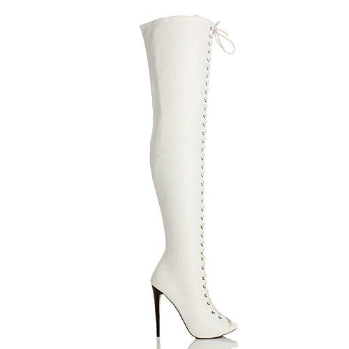 Bianco punta tacco il coscia aperta alto taglia sopra stringhe ginocchio stivali Donna Opaco wPqgUZ