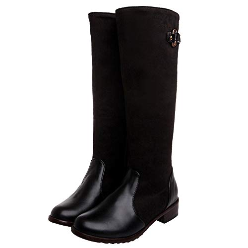 Cocey Women Knee High Low Heel Boots Black
