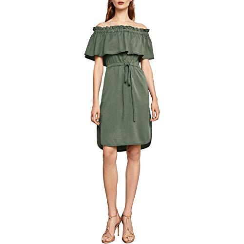 BCBG Max Azria Womens Evangelie Tencel Split Hem Casual Dress Green XXS ()
