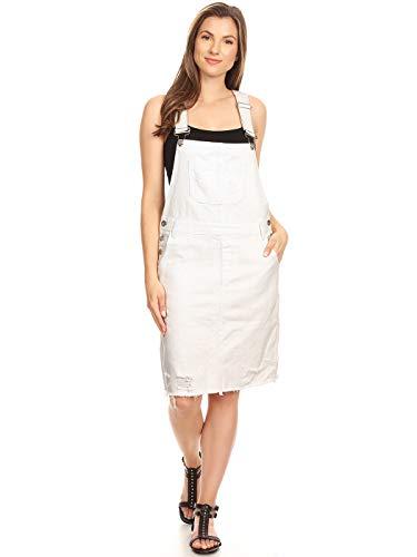 (Anna-Kaci Junior Womens Distressed Denim Adjustable Strap Overall Dress, Off-White,)