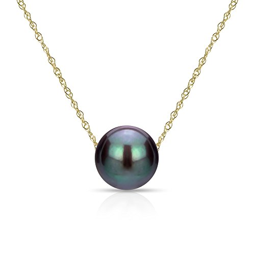 14k Yellow Gold Chain Necklace with 9-9.5mm Black Freshwater Cultured Pearl Floating Pendant, 18