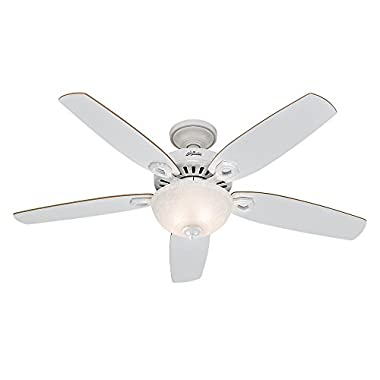 Hunter 53089 Builder Deluxe 52-Inch Ceiling Fan with Five White/Beech Blades and Snowflake Linen Glass Light Kit, White