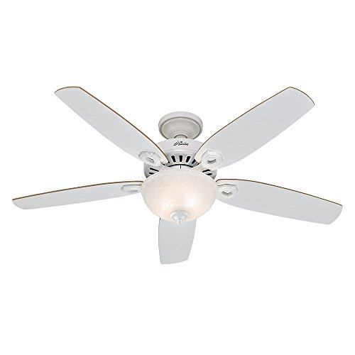 Hunter 53089 Builder Deluxe 52-Inch Ceiling Fan with Five White/Beech Blades and Snowflake Linen Glass Light Kit, White For Sale