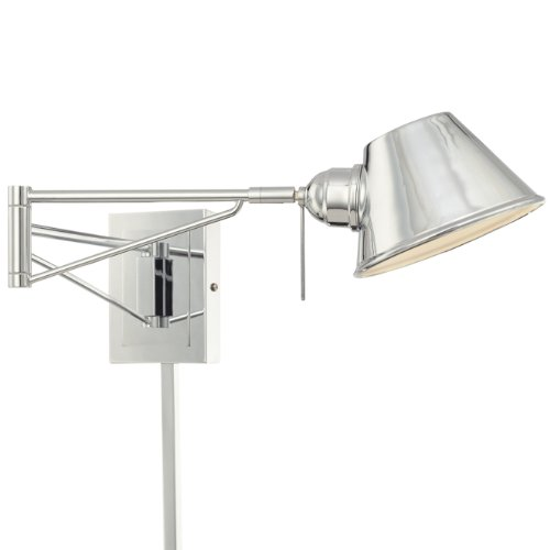 George Kovacs P611-077 Georges Reading Room 1 Light Swing Arm Wall Sconce, Chrome