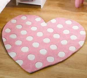 Childrens Pink Polkadot Heart Shaped Rug Girls 90cm X 90cm (3ft X 3ft)