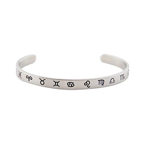 Childrens Flex Bangle Bracelet (Skinny Zodiac Bracelet Bangle Hand Stamped Cuff Astrology Jewelry (Silver))