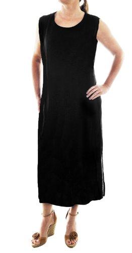 We Be Bop Solid Black Tank Dress Crinkle Rayon Plus Size (Crinkle Tank Dress)