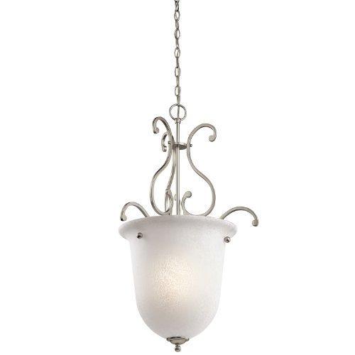 (Kichler Lighting 43229NI Camerena 1-Light Foyer Pendant, Brushed Nickel Finish with White Scavo Glass by Kichler)