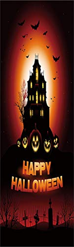 Halloween 3D Decorative Film Privacy Window Film No Glue,Frosted Film Decorative,Happy Halloween Haunted House Flying Bats Scary Looking Pumpkins Cemetery Decorative,for Home&Office,17.7x70.8Inch Blac -