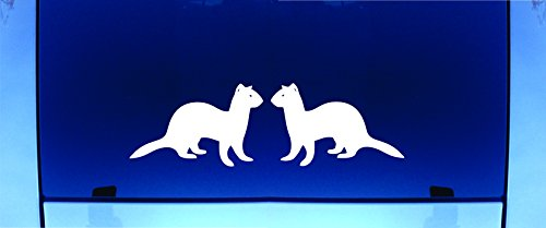 FERRET SET - Vinyl DecalsWHITE Cat Truck Laptop Notebook Flat Smooth Clean Dry Surface