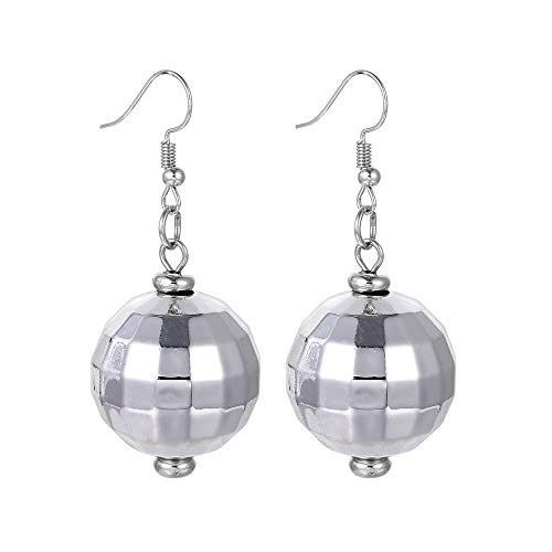 FUTTMI 4 Pairs of Disco Ball Dangle Earrings for Women Girls 60's 70's Silver Halloween Mirror Ball Costume Earrings