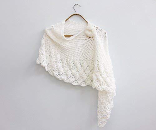 Amazoncom White Brides Shawl With Flower Scarf Pin Hand Crochet