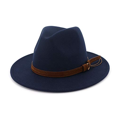 Lisianthus Men & Women Vintage Wide Brim Fedora Hat with Belt Buckle Navy Blue 58-60cm ()