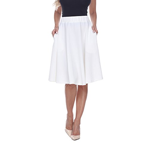 White Mark Saya Flare Skater Skirt in White - X-Large from White Mark