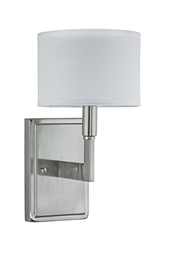 Allegro Wall Light Fixture - Brushed Nickel with White Linen Shade - Linea di Liara LL-WL131-BN