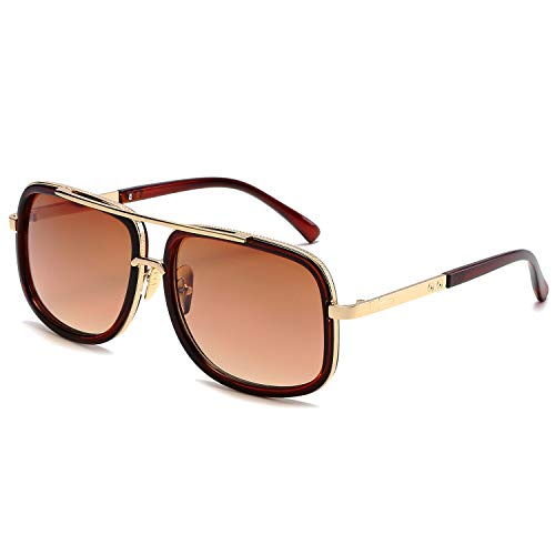 Eyerno Retro Aviator Sunglasses For Men Women Vintage Square Designer Sun Glasses(Brown)]()