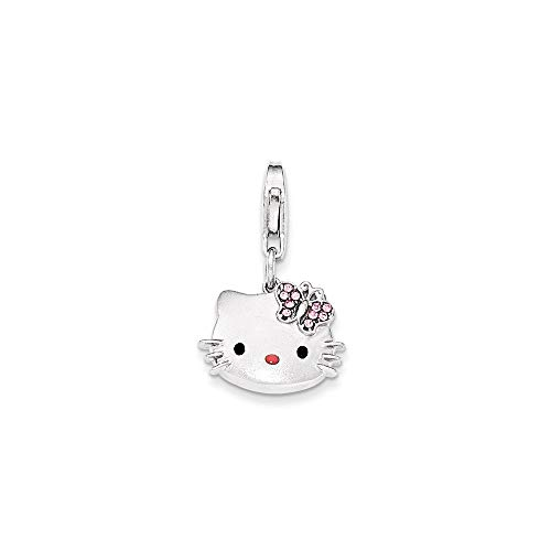 925 Sterling Silver Hello Kitty Pink Nose Crystal Charm Necklace