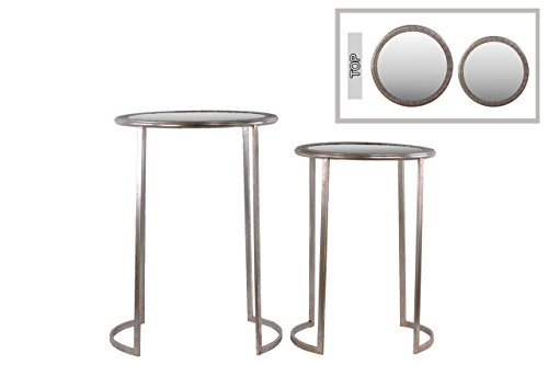 (Urban Trends Collection Metal Round Table with Beveled Mirror and Pierced Metal Frame Top Set of Two Distressed Metallic Finish Champagne)
