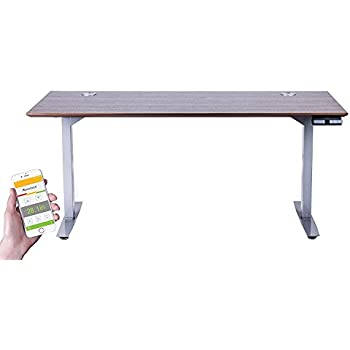 "ApexDesk Flex Pro Series 66"" Standing Desk Base&Top (Grey Memory Base+Brown Top)"