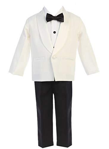 (iGirldress Little Boys Ivory Jacket Black Pants Shirt Bowtie Tuxedo Ring Bearer Suit Size)