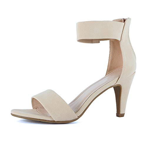 Guilty Shoes Women's Ankle Strap Open Toe Comfortable High Heels Dress Wedding Party Heeled Sandals (8.5 M US, Beige Nubuck)