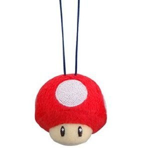 Mario Kart Fuwa Fuwa Plush Cleaning Cloth Mascot Keychain Red Mushroom - Fuwa Plush