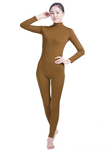 Ensnovo Womens Turtleneck Spandex Long Sleeve Front Zipper Footless Unitard Brown, (Brown Unitard)