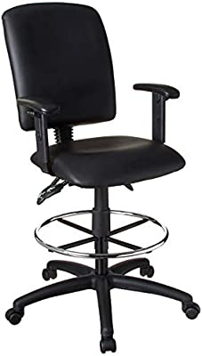 Awe Inspiring Boss Office Products Multi Function Leatherplus Drafting Stool With Adjustable Arms In Black Dailytribune Chair Design For Home Dailytribuneorg