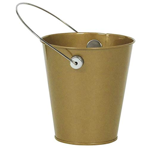 Metal Bucket w/handle | Gold | Party Accessory | 12 Ct.