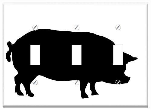 Switch Plate Triple Toggle - Pig Animal Porker Porky Big Black Silhouette Art