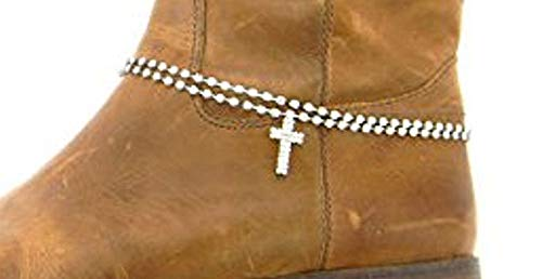 (Roger Enterprises Boot Anklet Boot Chain Cross and 2 Strands of Rhinestone Adjustable with)