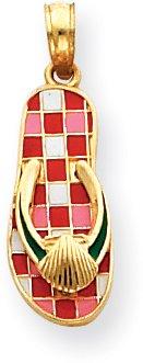 Quality Gold Enamel Thong/Sandal/Shoe Charm, 14K Yellow Gold