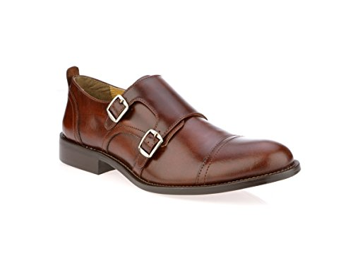 Liberty Men's Leather Double Buckle Monk Strap Cap-Toe Dress - Double Wingtip