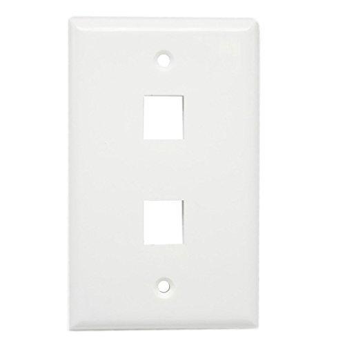 (AllSmartLife 2-Port Keystone Wall Plate, 1 Gang Keystone Jack Faceplate for HDMI/RCA/ Cat6/ Cat5e Ethernet Keystone Jack 5 Pack - White)